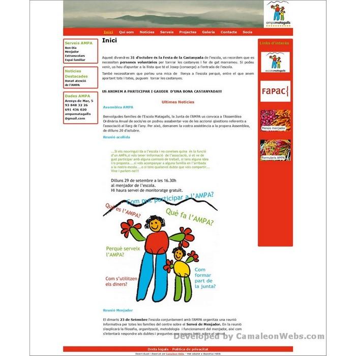 Pàgina inici: ampamatagalls-com - projecte web de Camaleon Webs