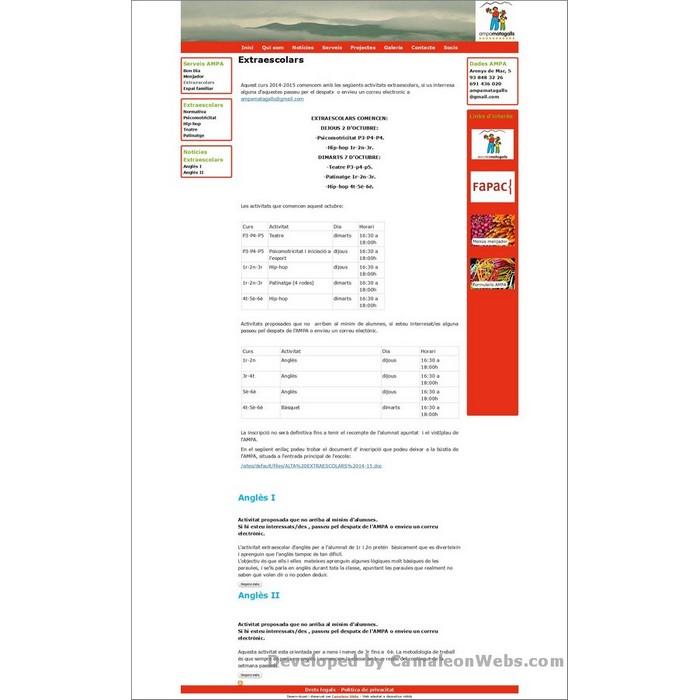 Pàgina servei_extraescolars: ampamatagalls-com - projecte web de Camaleon Webs