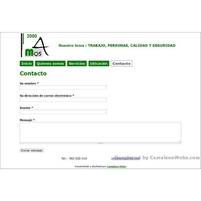 Pàgina contacto: amqs2000-com - projecte web de Camaleon Webs
