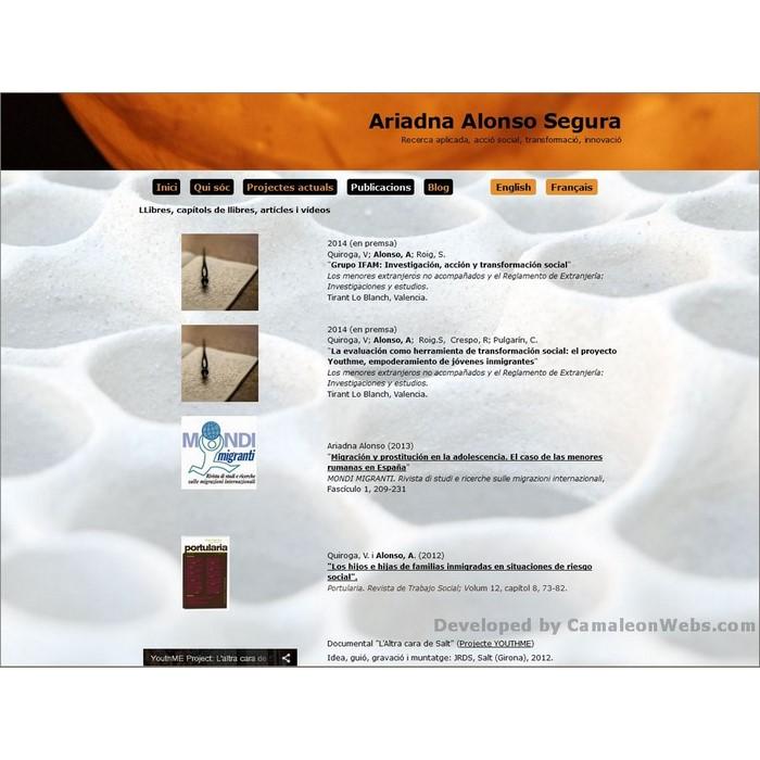 Pàgina publicacions: ariadnaalonso-com - projecte web de Camaleon Webs
