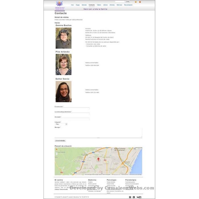 Pàgina contacte: centredesalutgemmabaulies-com - projecte web de Camaleon Webs