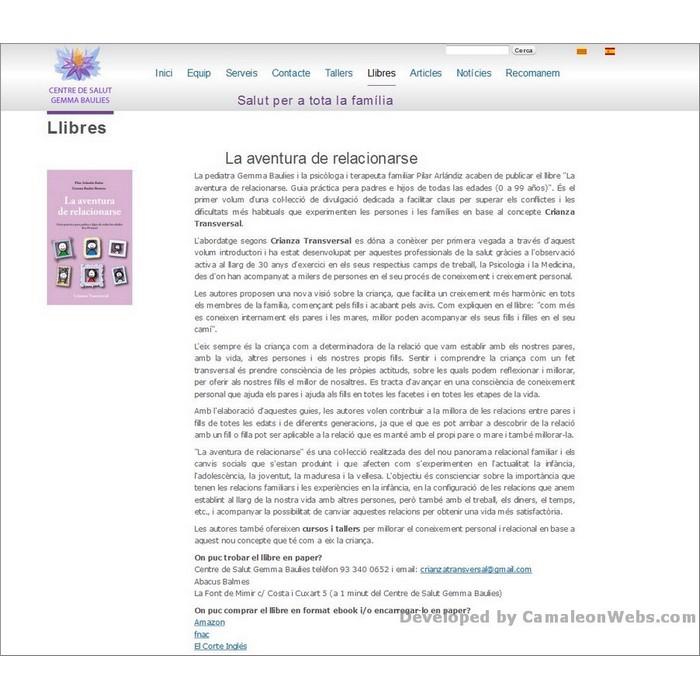 Pàgina llibres: centredesalutgemmabaulies-com - projecte web de Camaleon Webs