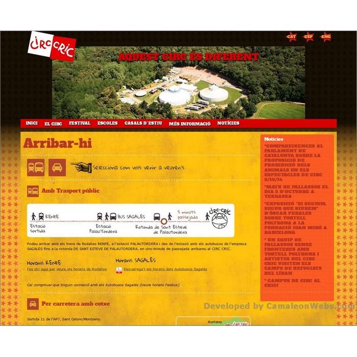 Pàgina el-circ_arribar-hi: circcric-cat - projecte web de Camaleon Webs