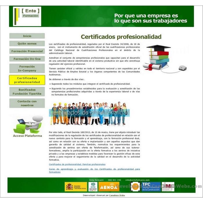 Pàgina certificados-profesionalidad: enteformacio-com - projecte web de Camaleon Webs