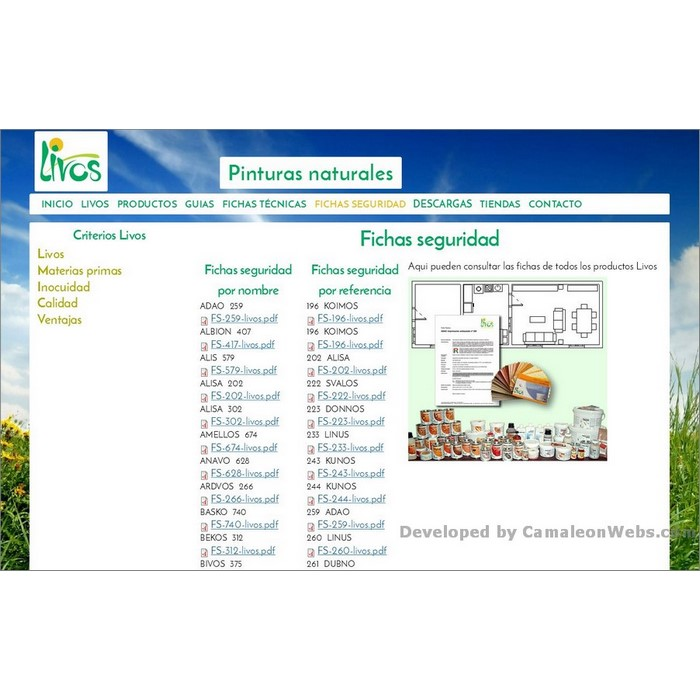 Pàgina fichas-tecnicas: livos-es - projecte web de Camaleon Webs