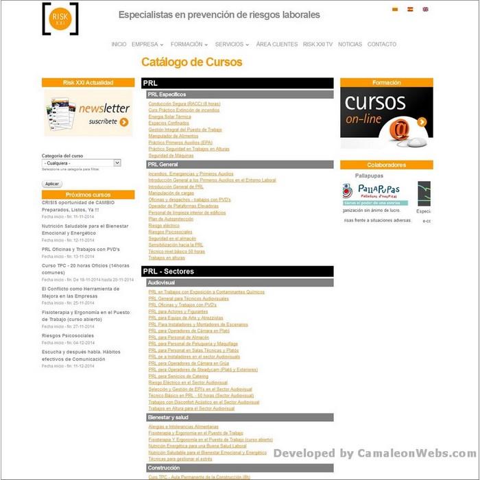Pàgina lista-cursos-fichas: risk21-com - projecte web de Camaleon Webs