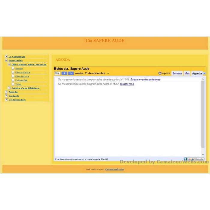 Pàgina agenda: sapere-aude - projecte web de Camaleon Webs