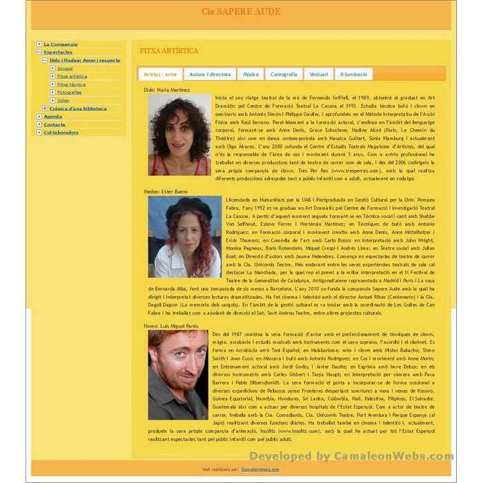 Pàgina Fitxa-artistica: sapere-aude - projecte web de Camaleon Webs