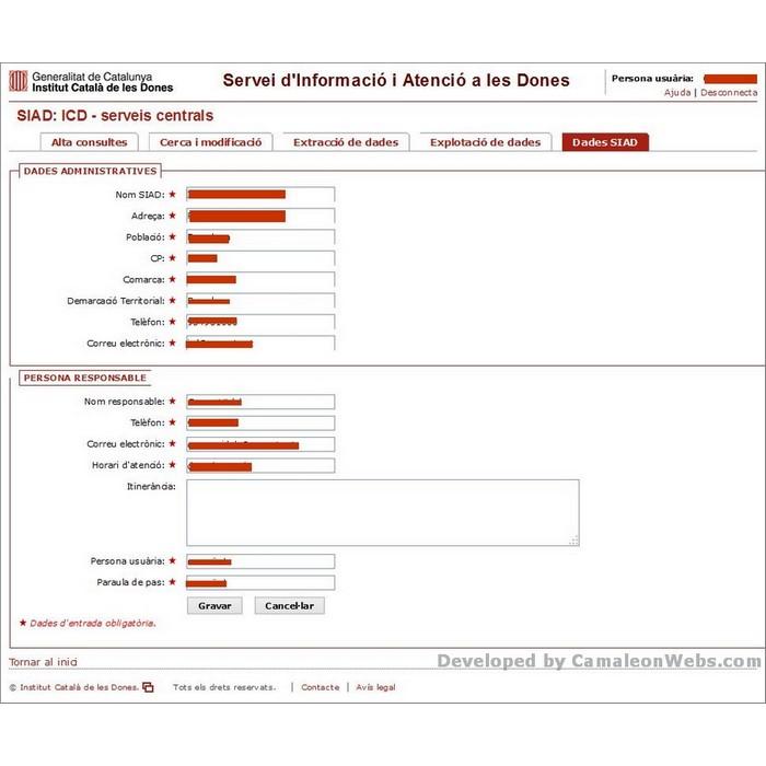 Pàgina Dades-siad: siad - projecte web de Camaleon Webs