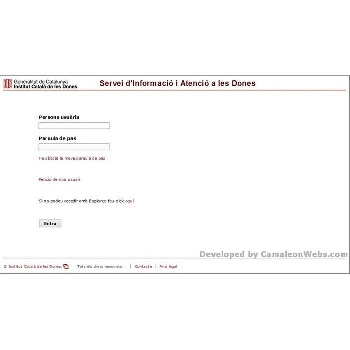 Pàgina login: siad - projecte web de Camaleon Webs